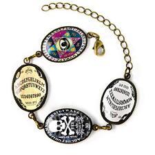 Gothic Ouija Spirit Board Occult Horror Bats Antique Bronze Glass Charm Bracelet