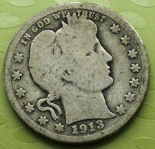 1913 Barber Quarter 25C Coin! 296