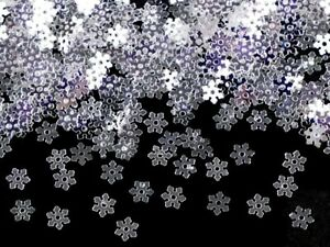 300 x 5mm mini Snowflake Sequins - silver, card making, crafts / 1-100-00037-300