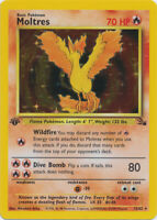 Moltres Holo Pokemon Card 1st Edition Fossil Series 12/62