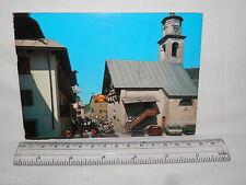 Vecchia cartolina foto d epoca di Livigno Chiesa S Antonio scorcio case strada