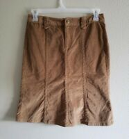 Eddie Bauer Womens Corduroy Skirt Flap Pocket Beige Khaki Size 6