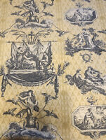 "3 Yds  Grecian Them Fabric Birds Cherubs Ladies . Navy Blue On Beige 44"""