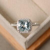 2.85 Ct Real Diamond Aquamarine Ring 14K Solid White Gold Wedding Rings Size N