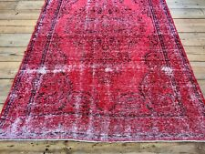 "9'8"" x 5'11"" Vintage Hand Knotted Overdyed Red Turkish Wool Area Rug"
