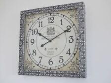 Large rustic vintage wood metal decorative wall art clock 60cm