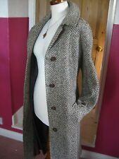 Ladies CZARINA brown green pure wool IRISH TWEED long COAT 16 14 trench duster