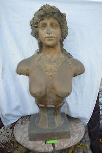 Sehr große Bronze-Büste, Jugendsil, 2-farbige Antikpatina, Frankreich