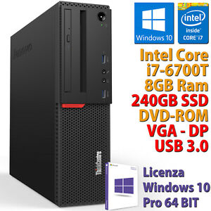 PC COMPUTER DESKTOP RICONDIZIONATO LENOVO M700 i7-6700T RAM 8GB SSD 240GB WIN 10