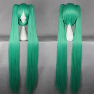 [wamami] Anime Long Straight Cosplay Pigtail Wig Hair Green/Blue/Black/Gold