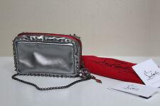New Christian Louboutin Piloutin Metallic Napa Chain Pochette Leather Purse Bag