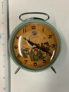 Vtg Alarm Clock Boy Scouts waiving hand on face of clock