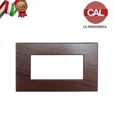 PLACCA CAL 4 FORI COMPATIBILE BTICINO MATIX LEGNO NOCE NAZIONALE UNI300/4