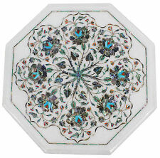 "12""x12"" Marble Coffee Table Top Pauashell Inlay Mosaic Floral Garden Home Decor"