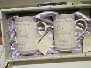Happy Wedding Anniversary ~ Set of 2 Ceramic Mugs ~ HAPPY ANNIVERSARY BOXED