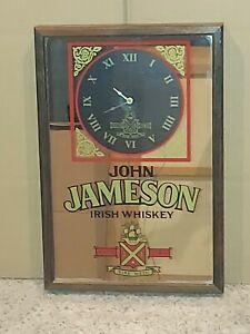 "Jameson Irish Whiskey Collectible Framed Mirror w/ Clock Man Cave Decor 13""x 19"""