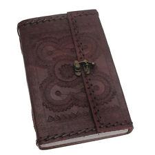 indra fair trade handmade xl genähtes geprägtes leder zeitschrift tagebuch mit verschluss