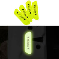 4pcs/set Car Door Open Reflective Sticker Tape Decal Safety Warning Yellow