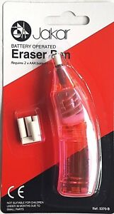 Pink Electric Eraser Pen Battery Operated Automatic Art Craft Rubber + Refills