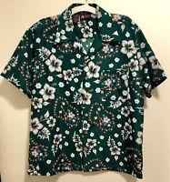 New Roundy Bay Hawaiian Ukuleles Hibiscus Floral Leis Aloha Shirt Men's L