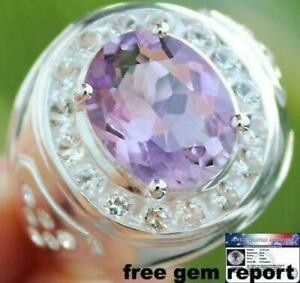 MEN'S RING 12.25 Cts AMETHYST & TOPAZ 925 Solid Sterling Silver Size 10.0