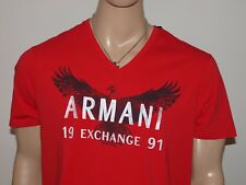 Armani Exchange Authentic Ghosted Eagle Logo V Neck T-Shirt Cardinal Red NWT