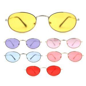 Hippie Micro Narrow Oval Pop Color Lens Metal Rim Sunglasses