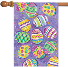 NEW Toland - Egg Toss - Colorful Easter Collage Pattern House Flag