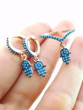 925 SILVER TURKISH HANDMADE HAMSA JEWELRY TURQUOISE EARRING RING SIZE 6.5 R1480