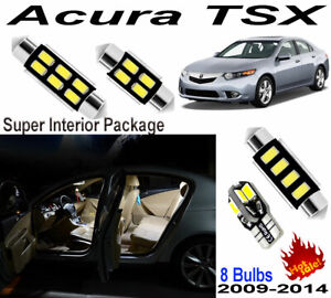 8pcs Super Bright Car LED Interior Light Dome Kit Package For Acura TSX2009-2014