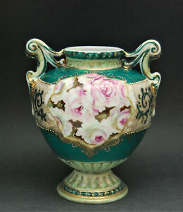 ANTIQUE HAND PAINTED POTTERY VASE URN FLORAL ROSE GILT DECORATION BEADED