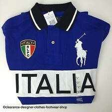 RALPH LAUREN POLO Grand Poney Italie 67 nouveau t-shirt top bleu royal taille M rrp £ 115