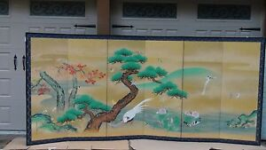 TANSEN(TSURUZAWA MORIYUKI d.1816)INK,COLORS& GOLD LEAF$ FRAGMENTS 6 PANEL SCREEN