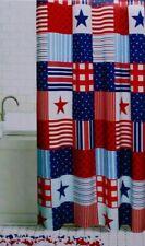 Celebrate Americana Patchwork Stars Red White Blue Fabric Shower Curtain 70x70