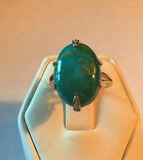 NEW BEAUTIFUL 14.20CT GENUINE TURQUOISE AND DIAMOND RING 14KT SOLID GOLD