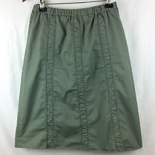 Nomadic Traders Womens Skirt M Olive Green Shirred Ruched Midi Lightweight