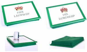 HIS LORDSHIP & HER LADYSHIP BEAN BAG PADDED CUSHION LAP TRAY SET TV BED SERVING