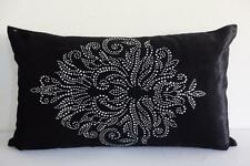 Exquisite Diamantes Black Velvet Rectangular Oblong Cushion Cover 30cmx50cm