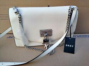 DKNY Elissa XL Shoulder Flap Bag Leather silver Chain Crossbody $198 White