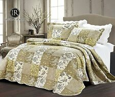 3pc Patchwork Bedspread Throw Comforter With Pillow Shams Double Size 220x240 cm