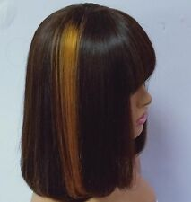 (ttblabl10) highlights blonde 30 fringe bob ombre brazilian human Hair pixie Wig
