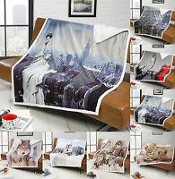 Luxury Sherpa Faux Fur Throw Fleece Blanket Sofa Bed Union Jack Skyline Animals