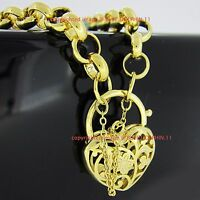 Real Solid 9k Yellow Gold GF Bolt Ring Chain Heart Clasp Padlock Bracelet Bangle