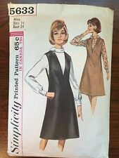 Vintage 1960's Women's Simplicity #5633 Sewing Pattern Size 14, Bust 34""