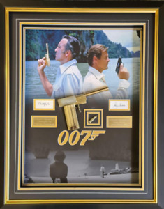 007Man with the Golden Gun presentation signed by Roger Moore & Christopher Lee