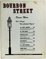 1960's Original Menu BOURBON STREET Restaurant Redford Charter Michigan