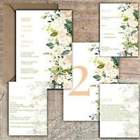 Personalised Luxury Rustic Wedding Invitations IVORY & PEACH/BLUSH ROSE PK 10