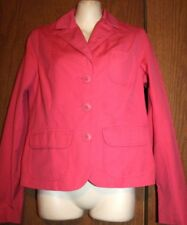 Old Navy Woman 100% Cotton Pink Red Buttons Front LS Lined Blazer Jacket S