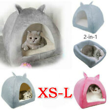 2-in-1 Cat Small Dog House Bed Kitten Pet Igloo Cave Puppy Sleeping Cozy Hut