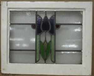 """OLD ENGLISH LEADED STAINED GLASS WINDOW Gorgeous Purple Tulip 22.25"""" x 17"""""""